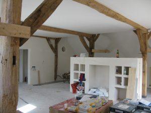 Verbouw boerderij hout en gebintconstructie